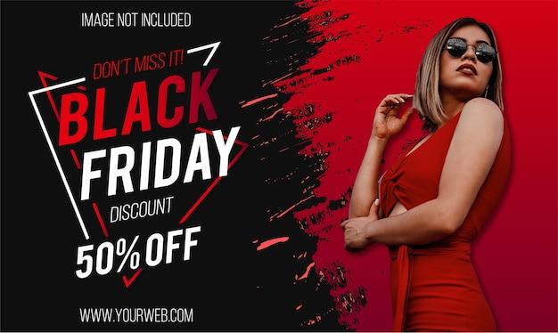 Super venta de viernes negro moderno con diseño de banner de salpicaduras rojas
