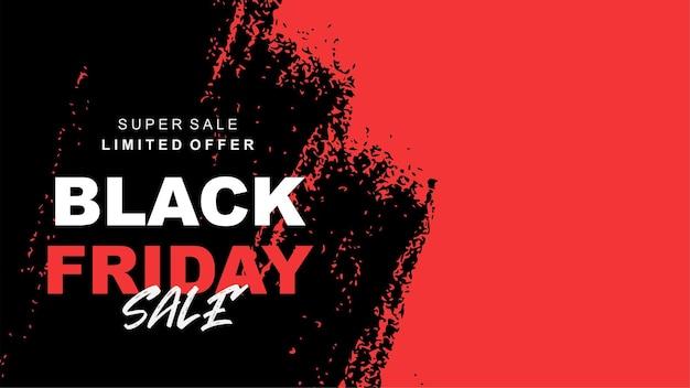 Super venta de viernes negro moderno con diseño de banner de salpicaduras rojo a
