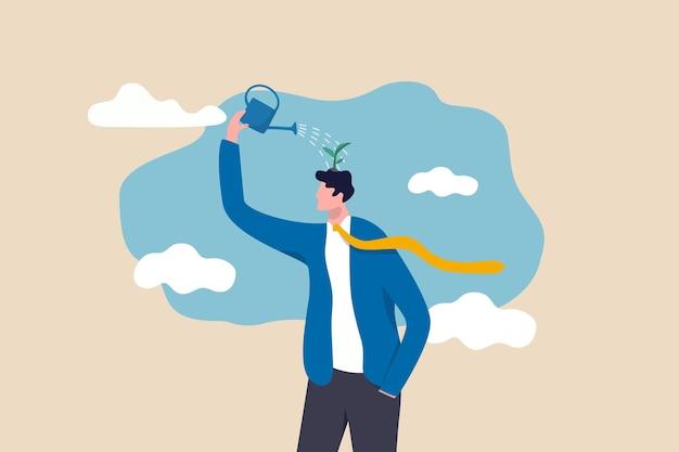 La superación personal y la actitud positiva para la ilustración del concepto de negocio