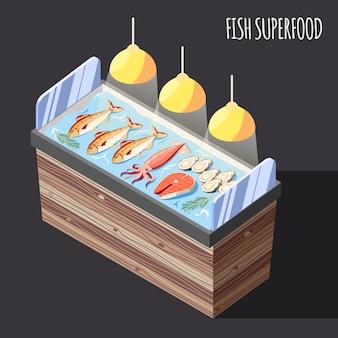 Superalimento de pescado isométrico con productos frescos en la ilustración de vector de contador de hielo