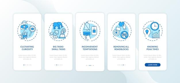 Superar los consejos sobre procrastinación al incorporar la pantalla de la página de la aplicación móvil con conceptos