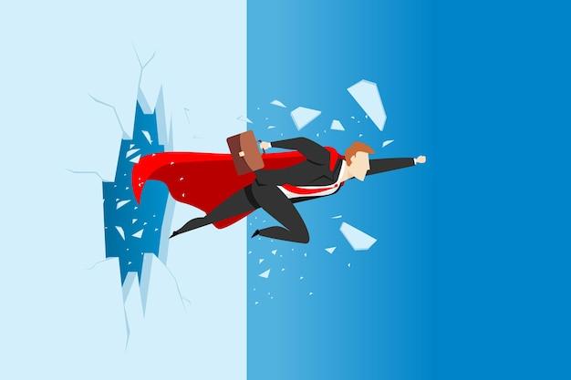 Superbusinessman rompiendo la pared. ilustración del concepto de negocio