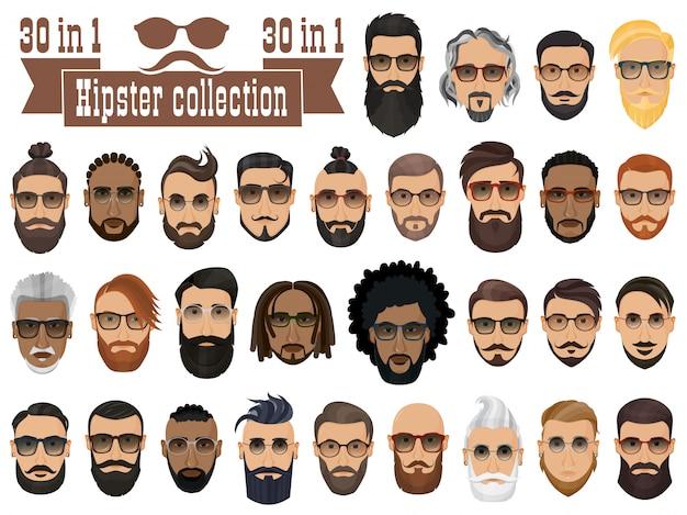 Superconjunto de 30 hipsters barbudos con diferentes peinados, bigotes y barbas aisladas.