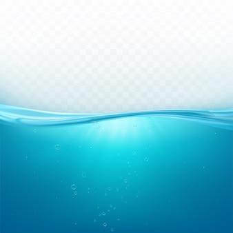 Superficie de la ola de agua, línea de océano líquido o nivel submarino del mar con fondo de burbujas de aire, agua azul fresca en movimiento