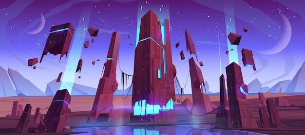 Superficie del planeta alienígena, paisaje futurista con rocas brillantes y voladoras, dos lunas en el cielo estrellado del atardecer. descubrimiento científico, escena de juego de computadora de fantasía, ilustración vectorial de dibujos animados