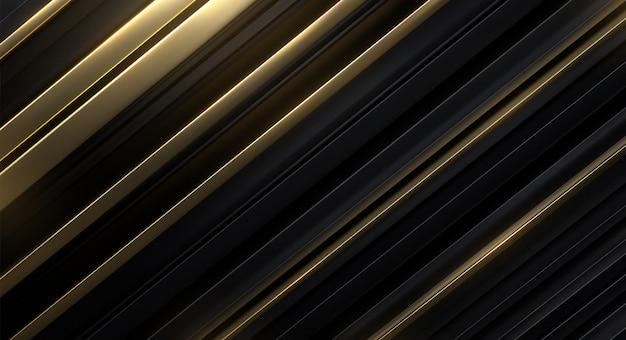 Superficie en rodajas negra y dorada. fondo geométrico abstracto ilustración. patrón de capas aleatorias. textura rayada decoración futurista elegante.