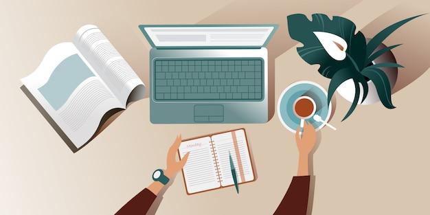 La superficie de trabajo de un escritorio en la mañana del lunes. ilustración vista superior