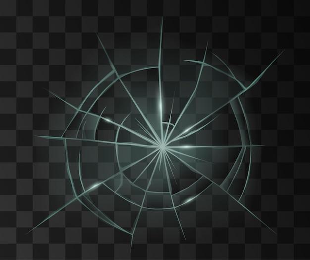 Superficie de vidrio transparente rota. espejo roto realista o agujero de bala en el cristal de la ventana o accidente del parabrisas. ilustración vectorial 3d