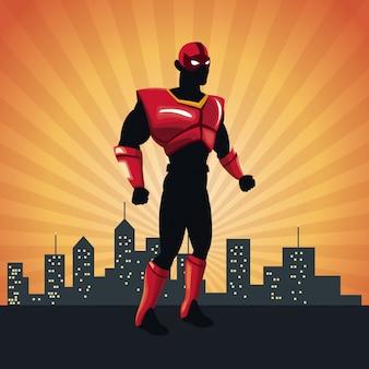 Superhéroe acción justicia posando frente paisaje urbano