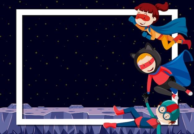 Superhéroe en el borde en blanco