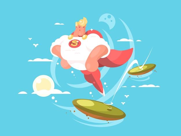 Superhéroe de dibujos animados con capa volando en el cielo. ilustración