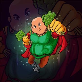 El superhéroe con el diseño de la mascota de brócoli esport de la ilustración.