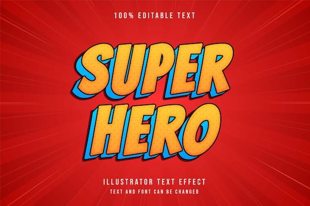Superhéroe, efecto de texto editable 3d gradación amarilla estilo de texto cómico azul naranja