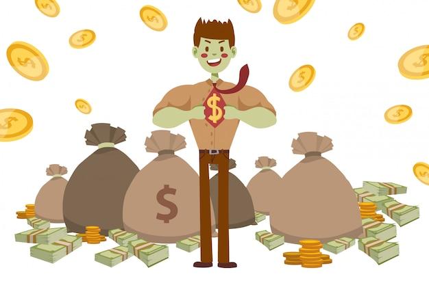 Superhéroe empresario fuerte con piel verde, ilustración. chico en camisa y camiseta con signo de dólar dibujado. bolsa de dinero
