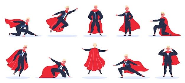 Superhéroe empresario. oficinista en poses de superhéroe de acción, personaje masculino de superhéroe en manto rojo
