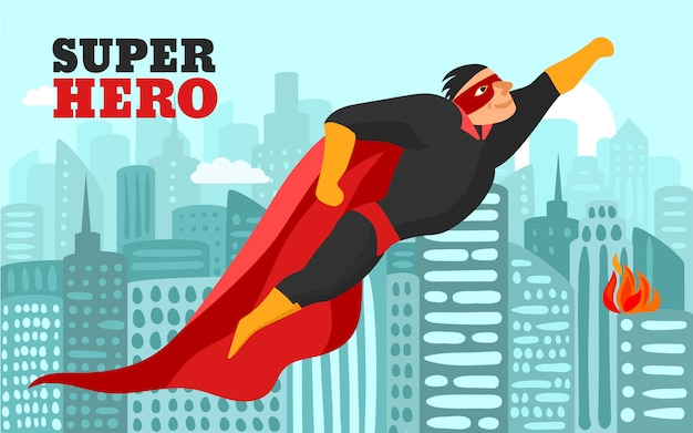 Superhéroe en la ilustración de la ciudad