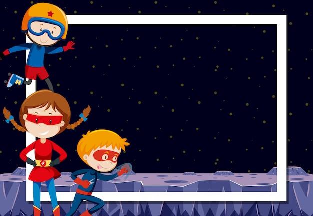 Superhéroe en el marco espacial