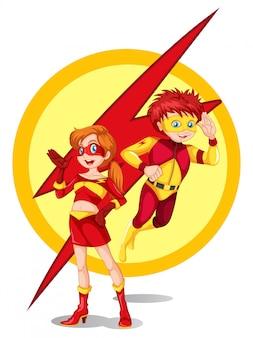 Un superhéroe masculino y femenino.