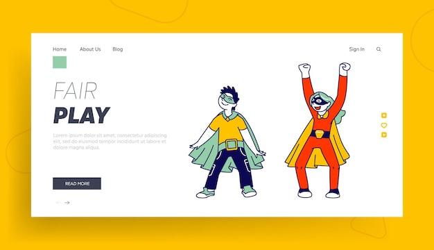 Superhéroe niños amigos jugando y divirtiéndose juntos plantilla de página de destino.