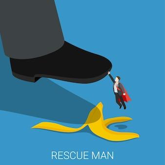 Superhéroe rescate hombre plano isométrico