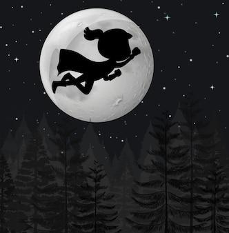 Un superhéroe volando por la noche.