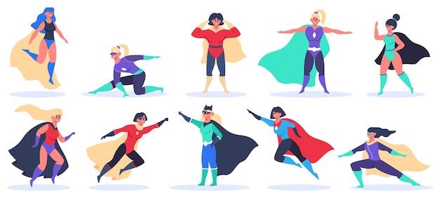 Superhéroes femeninos aislados en blanco