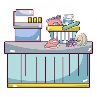 Supermercado caja registradora caricatura