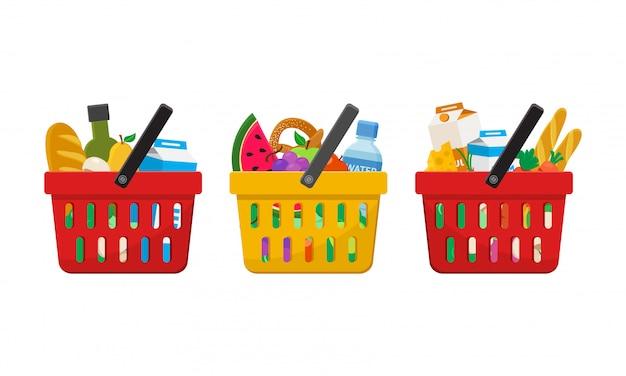 Supermercado. cestas de compras con alimentos. ilustración