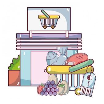 Supermercado comestibles productos dibujos animados
