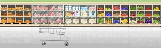 Supermercado se encuentra con productos alimenticios vector de estilo plano. cajero de recepción en el mercado. tiendas de comestibles y vistas frontales de carnes.