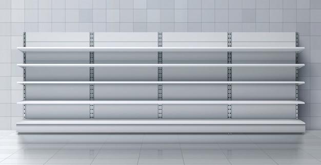 Supermercado estante largo con estantes vacíos vector
