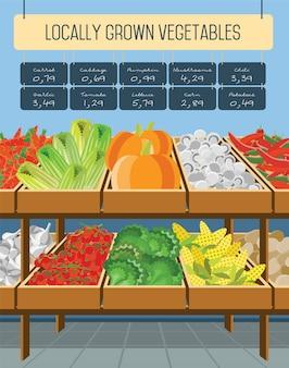 Supermercado estantes de verduras.