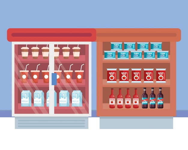 Supermercado frigorífico con estante y productos