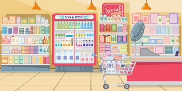 Supermercado con ilustración de estantes de comida.