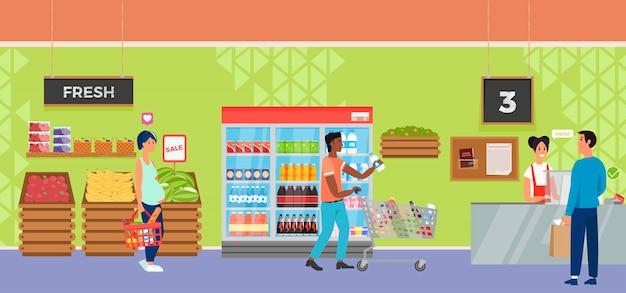 Supermercado interior de tienda con personas de carácter cajero y comprador.