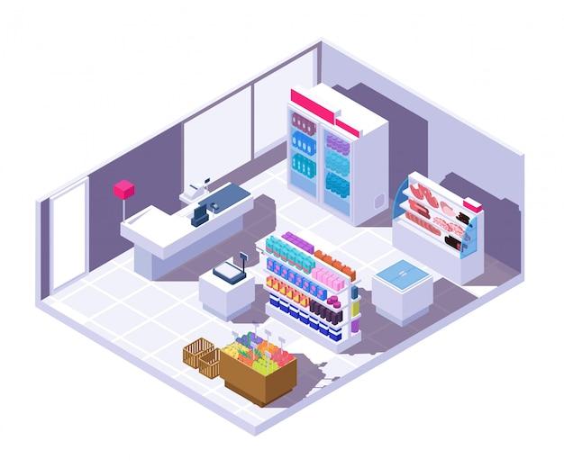 Supermercado isométrica interior. tienda de comestibles 3d con productos alimenticios