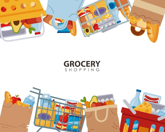 Supermercado marco de comestibles