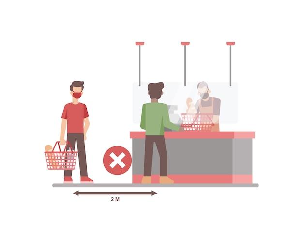 Supermercado o tienda de comestibles que aplica distanciamiento social entre cliente o comprador cuando hace cola en la ilustración del mostrador de caja