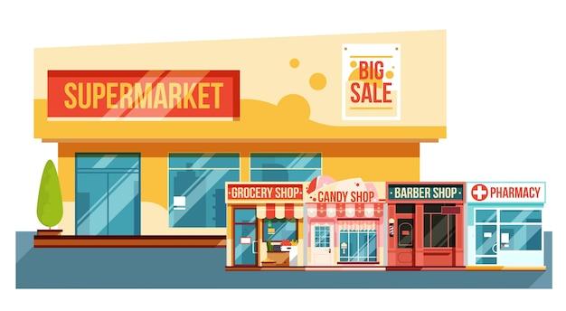 Supermercado y revistas pequeñas paisaje urbano vista moderna ilustración