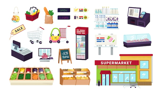 Supermercado, tienda de abarrotes, iconos de tienda de mercado de alimentos en ilustraciones blancas. exhibe estantes de frutas, verduras, efectivo, canasta de compras, carrito y productos. surtido de supermercados.