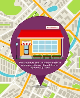 Supermercado tienda frente pin sobre el mapa de la ciudad. ilustración vectorial de navegación