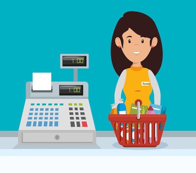 Supermercado vendedor mujer personaje