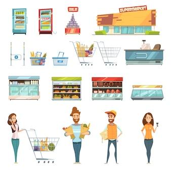 Supermercados, compras, iconos de dibujos animados retro con clientes carros cestas alimentos y productos