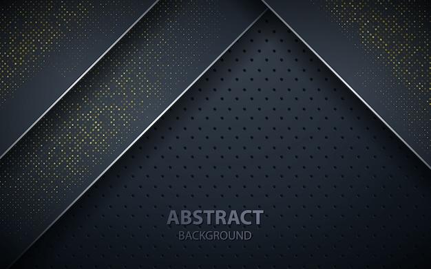 Superposición de capas negras de decoración realista.