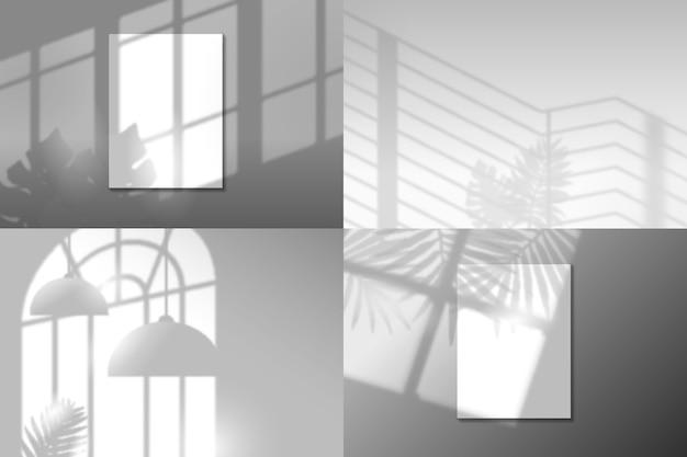 Superposición de efecto transparente con sombras de hojas y objetos.