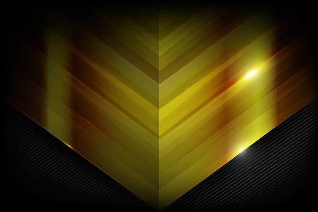 Superposición de fibra de carbono oscura y oro
