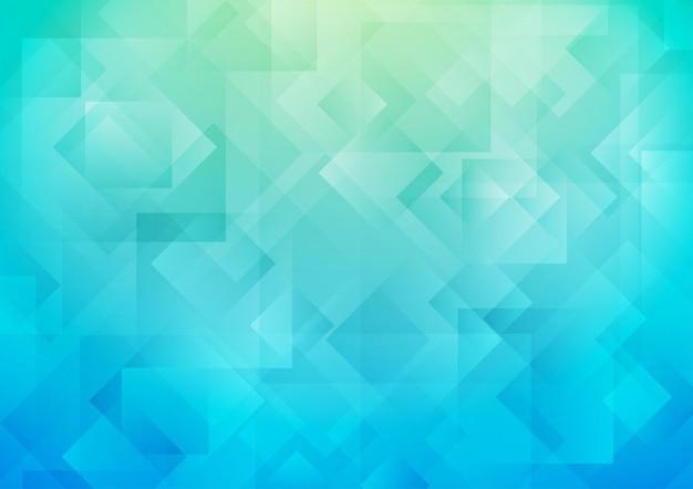 Superposición de formas cuadradas en azul con fondo degradado