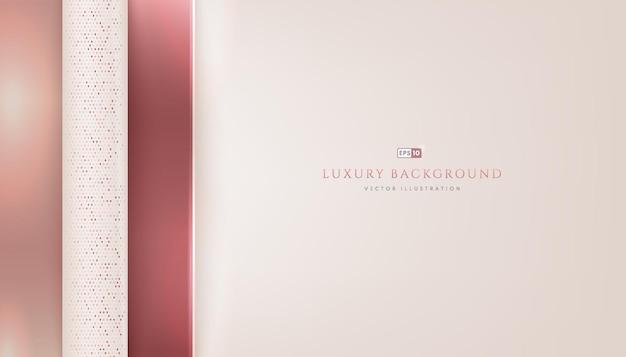 Superposición geométrica de oro rosa de lujo abstracto sobre fondo de color blanco crema