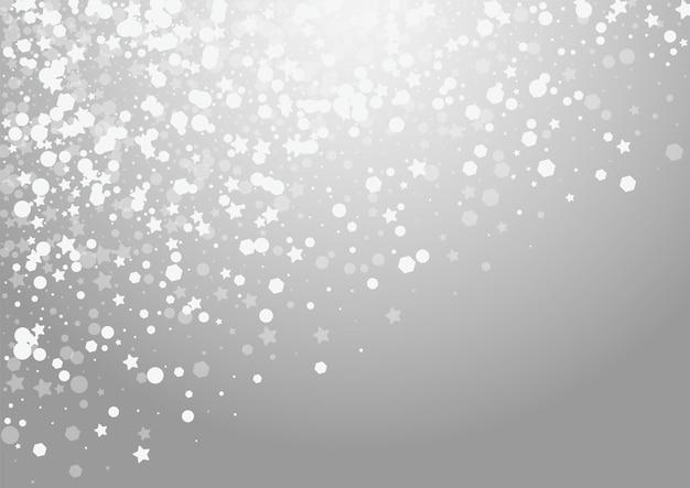 Superposición de nieve vector fondo gris. tarjeta silver falling snowfall. ilustración de confeti de resplandor. patrón de escamas mágicas.