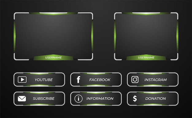 Superposición del panel de transmisión de twitch en colores verde y plateado